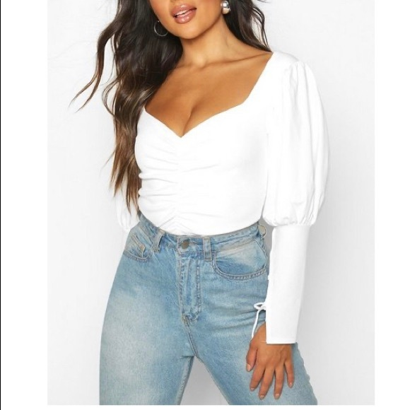 🤍BOOHOO LACE UP SLEEVE TOP🤍